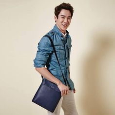 Yoo Yeon Seok for Beanpole Accessories S/S 2015 Kang Sora, Denim Button Up, Button Up Shirts, Yoo Yeon Seok, Japanese Men, My Sunshine, Korean Actors, Warm And Cozy, Exo