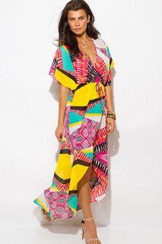 multi-color-ethnic-print-semi-sheer-chiffon-kimono-sleeve-high-slit-boho-maxi-sun-dress