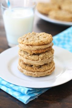 Peanut Butter Oatmeal Sandwich Cookies Recipe on twopeasandtheirpod.com. Always a favorite! #cookies