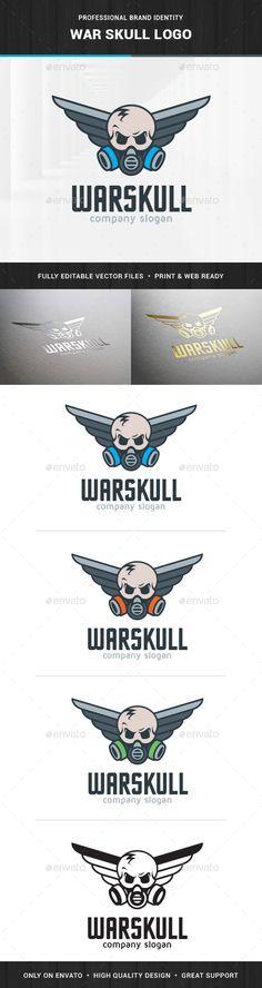 War Skull Logo Template — Photoshop PSD #artist #evil • Available here → https://graphicriver.net/item/war-skull-logo-template/14527938?ref=pxcr