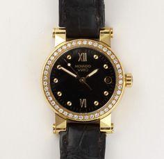 Damenarmbanduhr, Movado Vizio, 750 GG, Lunette besetzt mit 44 Brillanten von zus. ca. 0,30 ct., Datu
