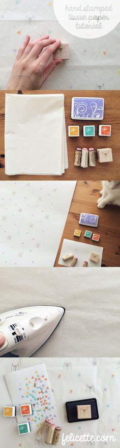 DIY post by Siamese Social Club: Custom Stamped Tissue Paper - Felicette