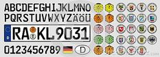 Germany, car plate with simbols and coat of arms, vector illustration