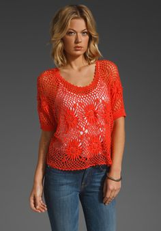 (Corporate example) Free People New Romantics Bloom Crochet Top in Red (coral) - Lyst