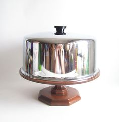 vintage cake stand pedestal covered dome display by RecycleBuyVintage, $32.00