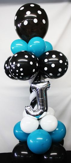 Black, White Polka Dots and Teal Balloon Centerpiece Personalized with the Letter J by Nikki @ Facebook/MyeFavors.com