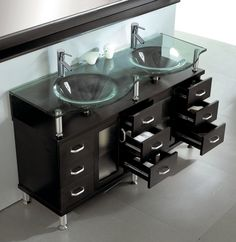 Sink Bathroom Vanity In Espresso By Virtu Usa Vessel Double