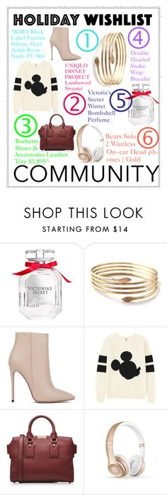 """""""Holiday wishlist"""" by victoriakfc on Polyvore featuring Victoria's Secret, Akira Black Label, Uniqlo, Burberry, contestentry and 2015wishlist"""