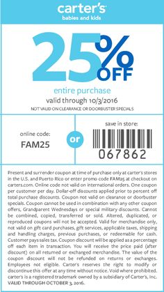 Pinned September 16th: 25% off at #Carters or online via promo code FAM25…
