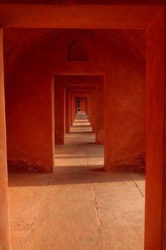 The Orange Side Of Taj India, Taj Mahal, Agra