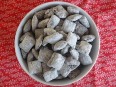 """Original recipe for """"puppy Chow"""" This is the best one, I add valentine M & M's and sprinkles and give them as valentines, all the kids LOVE them, and moms love it that they don't have little stuff to keep around...seriously moms, no one wants the little toys and goodie bag toys;)"""