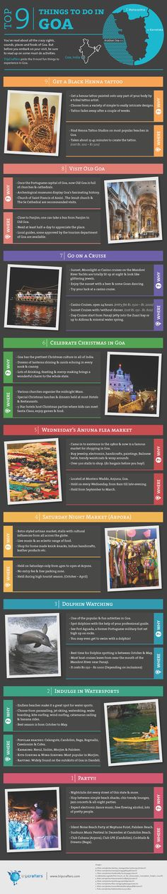 Youve read about all the crazy sights, sounds, places and foods of Goa. But before you embark on your visit, be sure to read up on some must-do activities. TripCrafters picks the 9 most fun things to experience in #Goa [ #INFOGRAPHIC ] #India