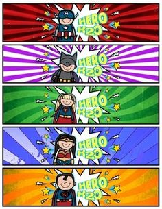 Superhero Water Bottle Labels (Hero H2O!) -- FREEBIE!