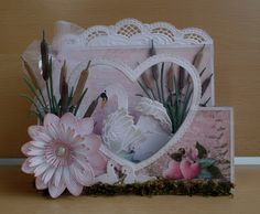 Handmade card by DT member Astrid with Creatables Tiny's Swan (LR0408), Petra's Waterlily (LR0406), Petra's Beautiful Border (LR0407), Tiny's Cattails (LR0409) & Craftables Heart Basic Shape (CR1351) from Marianne Design
