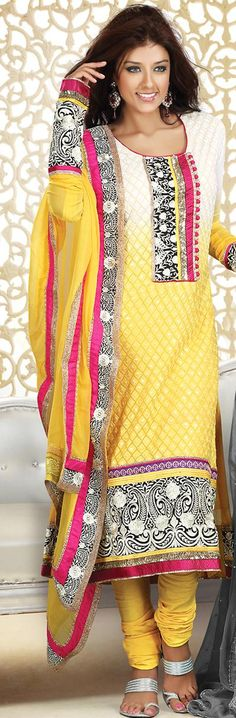 White and Yellow Embroidery Cotton Churidar Salwar Kameez