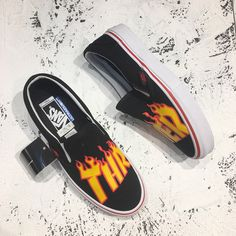 1ae9a2fc0ae644 Thrasher x Extreme red circle Pro   Slip-On classic high canvas skate shoes  series