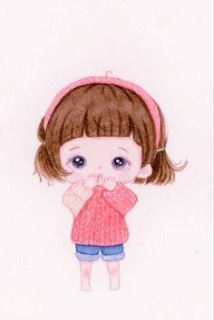 Cute Cartoon Drawings, Cute Cartoon Girl, Cute Love Cartoons, Kawaii Drawings, Cute Anime Chibi, Chica Anime Manga, Pencil Drawing Images, Anime Bebe, Mode Poster