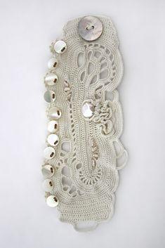 Wear natural Pearls. #angelicadelic #handmadebracelet #crochetbracelet #cuff #jewelry #crochet #freeformcrochet