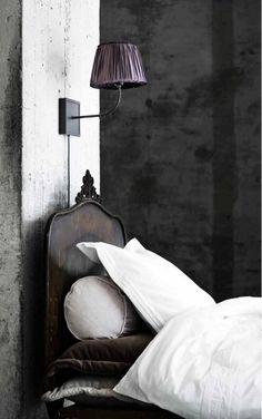 Dark Headboard, White Linens, Velvet Accent Pillows