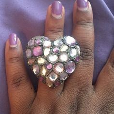 Heart shaped ring  Purple and pink heart shaped ring with expandable ring part OS Jewelry Rings