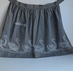 Vintage Black and White Gingham Apron with White Chicken Scratch / Cross Stitch Swans