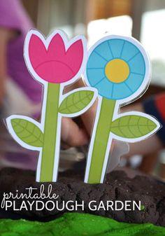 printable playdough garden! - free printable accessories to make a playdough garden.
