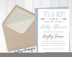 It's a BOY! White and blue baby shower invitation. Printable file! by RayBrynDesigns on Etsy