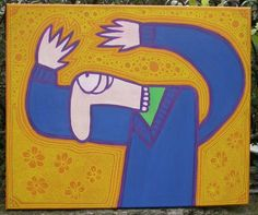 "Title : ""Amalocou""  Medium : Acrylics and Posca pen on Canvas  Year : 2007  Size : 650 x 550 mm"