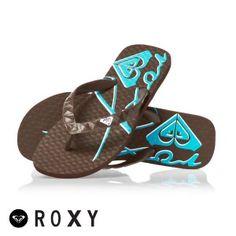 Brown & Teal Roxy slaps