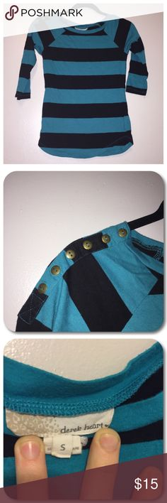🍂Blouse🍂 Derek Heart teal and black striped 3/4 sleeve blouse. Decorative bronze buttons on right shoulder. Juniors size small. Derek Heart Tops Blouses