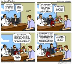 The Joy of Tech comic, Parting gifts.