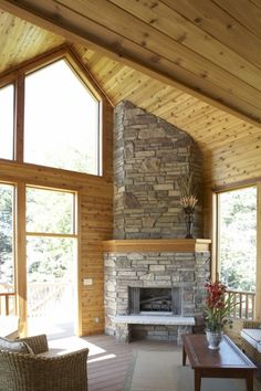 """Corner fireplace .. don't like the wood mantel or the stone """"bench"""" thing in front of it, though."""