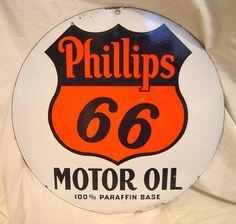 Phillips 66 Antique Porcelain Sign  (Motor Oil, 100% Paraffin Base, Vintage Veribrite, Two Sided Signs)