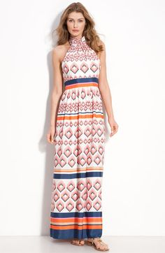 Eliza J Tie Neck Maxi Dress