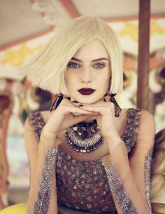 A blunt bob and dark lips. YES.