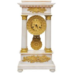 French Signed Alabaster and Gilt Bronze Portico Clock | From a unique collection of antique and modern clocks at https://www.1stdibs.com/furniture/decorative-objects/clocks/