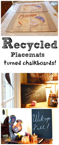 Recycled placemats to chalkboards - Debbiedoo's