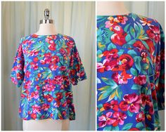 vintage 1980s IZOD floral shirt | medium | vint 80s jersey shirt | animal print top | summer shirt | short sleeve shirt | tropical top