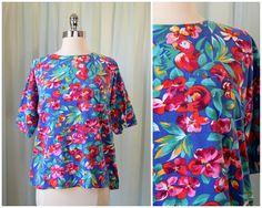 vintage 1980s IZOD floral shirt | medium | vint 80s jersey shirt | animal print top | summer shirt | short sleeve shirt | tropical top