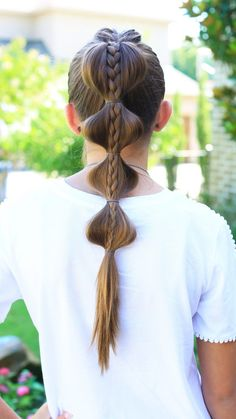 Stacked Bubble Braid   Top French braid into plain braid on top, high ponytail with bubbles pulled to the sides.