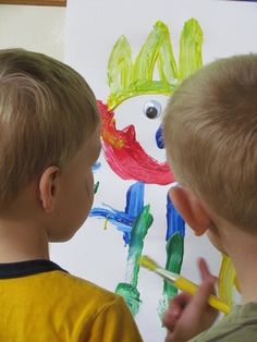 Teach Preschool | Googly-eye easel starter. Such a simple idea to generate new creativity and excitement at the easel.  Love it~