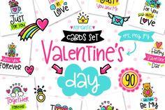 90 Valentine's Day Cards - Love Set by Qilli on @creativemarket