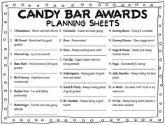 Funny awards for friends award ideas end of the year class management cheer to give your End Of School Year, School Days, Middle School, School Stuff, Sunday School, Candy Bar Awards, Fun Awards, 4th Grade Classroom, Classroom Ideas