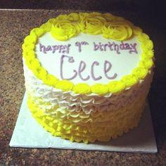 Yellow Roses & Ruffles birthday cake