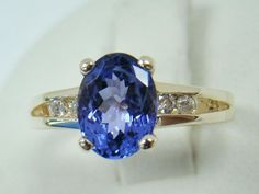 14K YELLOW GOLD RING GENUINE OVAL 1.40 CT TANZANITE DIAMOND ACCENTS 3.7g SZ 4.25 #CHH #SolitairewithAccents