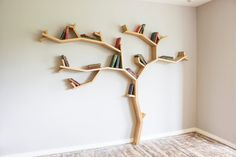 Our Beech Tree shelf design; made to order from solid oak, hand picked for its character and strength.  Every shelf we build is unique; whilst