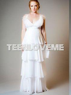 Feminine V-neck Tiered Skirt Maternity Dress