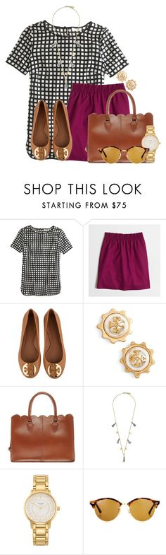 """""""SHOUTOUT IN D"""" by flroasburn ❤ liked on Polyvore featuring J.Crew, Tory Burch, ASOS, Feather & Stone, Kate Spade and Ray-Ban"""