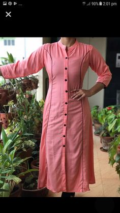 Kurti - Different types of kurtis designs Simple Craft Ideas Salwar Neck Designs, Churidar Designs, Kurta Neck Design, Kurta Designs Women, Dress Neck Designs, Blouse Designs, Kaftan, Kurta Patterns, Dress Patterns