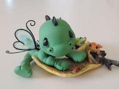 OOAK Polymer Clay Fairy Garden miniature Baby Dragon on Leaf Figurine Sculpture